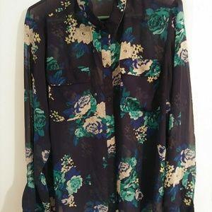 XL Old navy transparent floral shirt